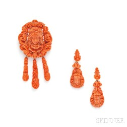 Antique Carved Coral Demi-parure