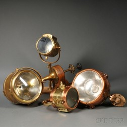Four Brass and Copper Ship's Searchlights