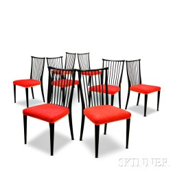 Set of Eight Mid-century Modern Spindle-back Side Chairs
