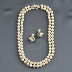 Cultured Pearl Necklace and Earclips