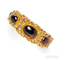 Antique Gold and Garnet Carbuncle Bracelet