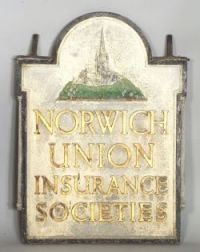 Painted Cast Zinc Norwich Insurance Trade Sign