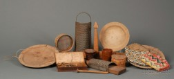 Group of Twelve Early Pottery, Wood, and Textile Items