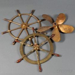 Two Brass Ship's Wheels and a Propeller