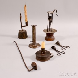 Four Early Wrought and Sheet Iron Candle Holders and Three Snuffers