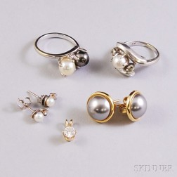 Small Group of Pearl and Diamond Jewelry