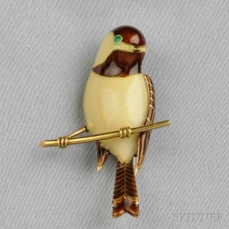 18kt Gold and Enamel Chickadee Brooch