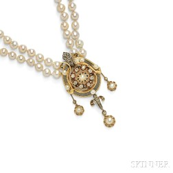 Gold, Diamond, and Cultured Pearl Pendant
