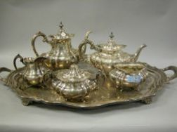 Five-Piece Reed & Barton Sterling Silver Hampton Court Tea and Coffee Set and a Reed & Barton Silver Plated Winthrop Serving Tray.
