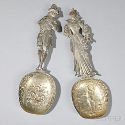 Two Continental Figural Silver Serving Spoons