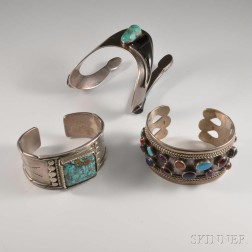 Three Sterling Silver and Hardstone Bangles