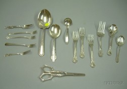 Sterling Silver Grape Shears and Fourteen Pieces of Sterling Silver Flatware.