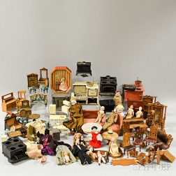 Large Group of Dolls and Dollhouse Accessories