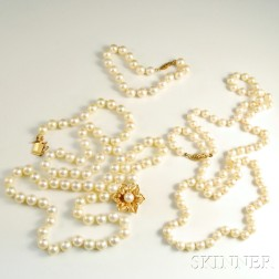 Two Cultured Pearl Necklaces and a Cultured Pearl Bracelet