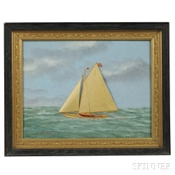 Attributed to Thomas Willis (Connecticut, 1850-1925)      Diorama Portrait of the Yacht Sachem II