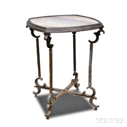 Victorian Cast Metal Inset Marble-top Table