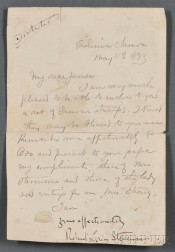Stevenson, Robert Louis (1850-1894) Dictated Note Signed, Vailima Samoa, 11 May 1893.