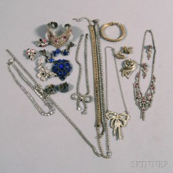 Small Group of Paste and Rhinestone Costume Jewelry