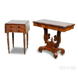 Classical Mahogany Two-drawer Worktable and a Late Classical Card Table
