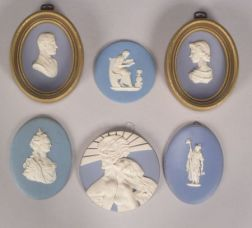 Six Solid Light Blue Jasper Plaques