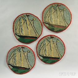 Four Round Hooked Mats