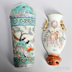 Two Famille Rose Wall Pocket Vases