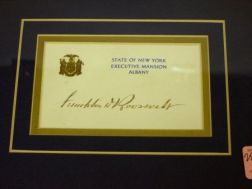 Framed Franklin D. Roosevelt Signature on State of New York Executive Mansion, Albany, Card.