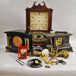 E. Terry & Sons Pillar and Scroll Clock and Various Clock Parts
