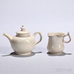 Two Small White Salt-glazed Stoneware Items
