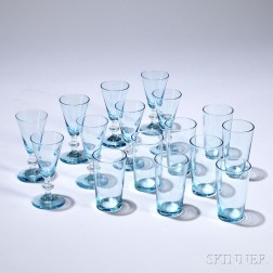 Blue Cordial Barware, 20th century, comprising thirteen stemmed cordial glasses and eleven small tumblers, unmarked.