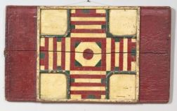 Painted Wooden Double-Sided Parcheesi/Checkers Game Board