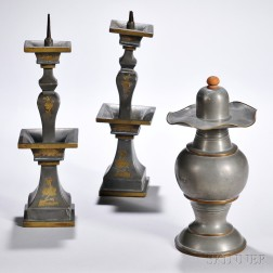 Pair of Pewter Candlesticks and a Covered Jar