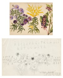 Charles Ephraim Burchfield (American, 1893-1967), Four Early Works on Paper: Wildflowers, Study of Tree Sprigs, Calligraphy Exercise, a
