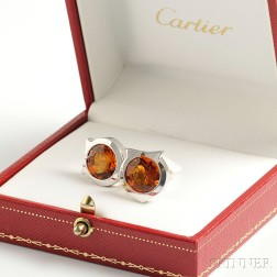 Cartier, Sterling Silver and Citrine Cuff Links