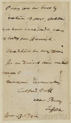 Cornwallis, Charles Marquis (1738-1805) and John Langdon (1741-1819) Two Signed Documents.