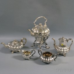 Boxed Assembled Silver and Silver-plated English Five-piece Melon-form Tea and   Coffee Service