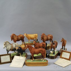 Nine Doris Lindner for Royal Worcester Porcelain Figures