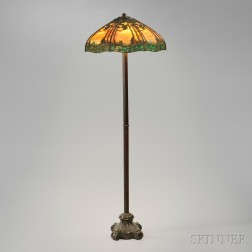 Handel Lamp Co. Floor Lamp with Pine Woods Sunset Shade