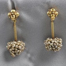 18kt Gold and Seed Pearl Earpendants