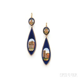 Antique Gold and Micromosaic Day/Night Earpendants