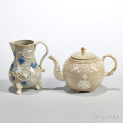 Two Drab-colored Salt-glazed Stoneware Items