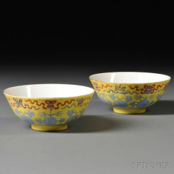 Pair of Yellow-ground Porcelain Bowls