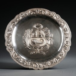 Peruvian Repousse-decorated Sterling Silver Charger