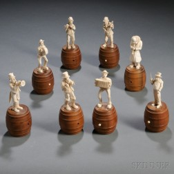Group of Eight Carved Ivory Musicians