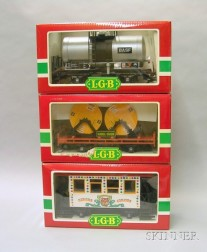 Three Boxed L.G.B. Rolling Cars