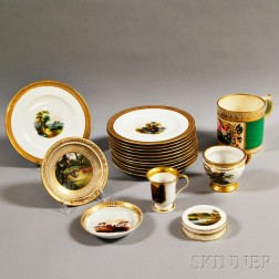 Set of Twelve French Porcelain Plates and Six Other Decorative Items