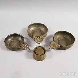 Three Pewter Porringers and an Inkwell