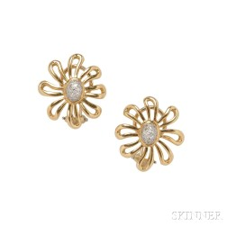 "18kt Gold and Diamond ""Daisy"" Earrings, Paloma Picasso, Tiffany & Co."