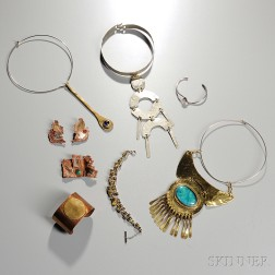 William Delillo Choker and Eight Pieces of  Mid-Century Costume Jewelry
