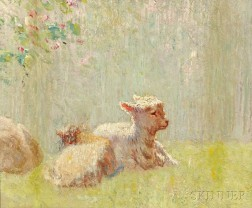 American School, 20th Century      Study of Lambs in a Meadow
